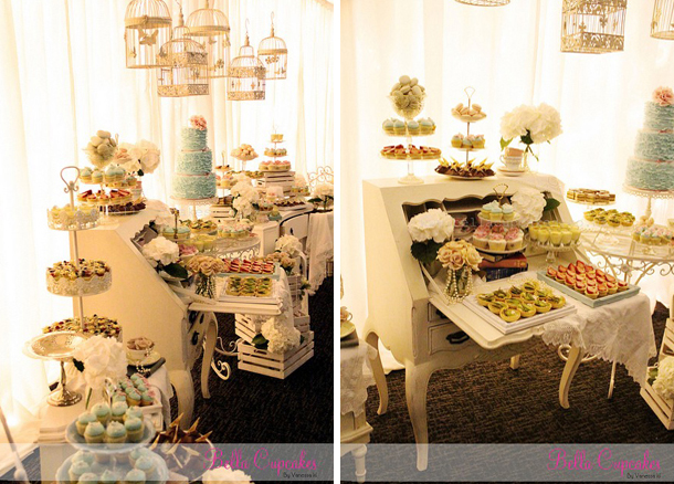 Vintage wedding desserts on vintage furniture pieces