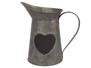 Tin jug with chalkboard heart