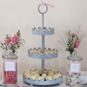 Silver grey cupcake stand