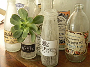 Distressed vintage bottles with labels