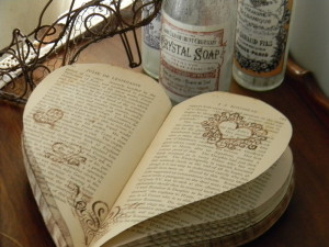 Heart shaped vintage books