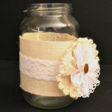 Hessian and lace jar wraps