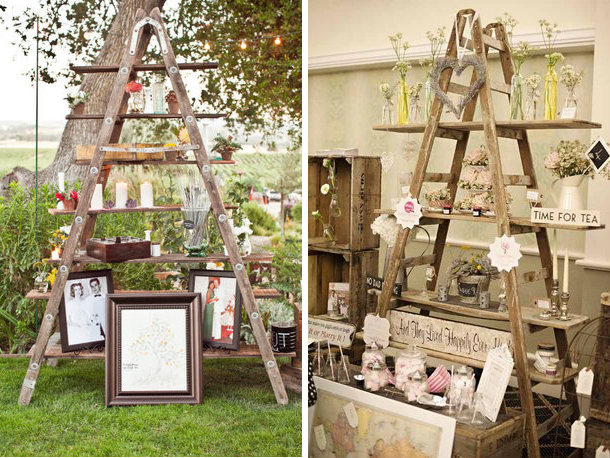 Wooden ladders inspiration quirky parties for Deco shabby chic pas cher