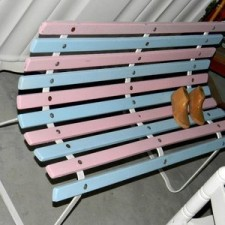 Park bench - pink and blue kiddies bench - Quirky Parties