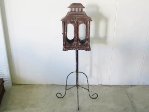 Rustic card holder on wrought iron stand