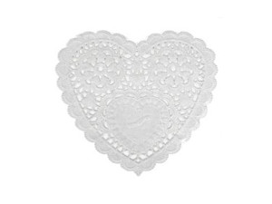 10cm heart shaped paper doileys