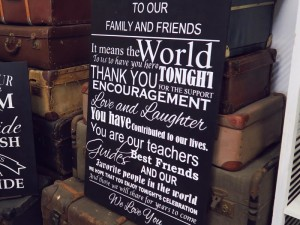 Family and friends signboard