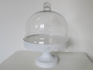 White metal filigree cake stand