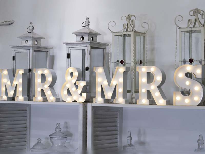 Mr Amp Mrs Light Up Letters Quirky Parties