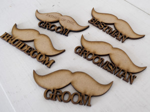 Wedding badges - moustaches